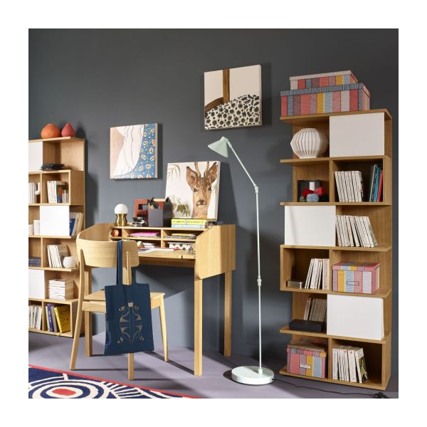 Ivy biblioth que basse en ch ne porte coulissante for Bibliotheque basse design