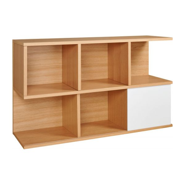 ivy low bookcase oak and white habitat. Black Bedroom Furniture Sets. Home Design Ideas