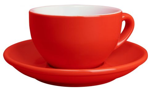 Coffee cup latte in porcelain, red