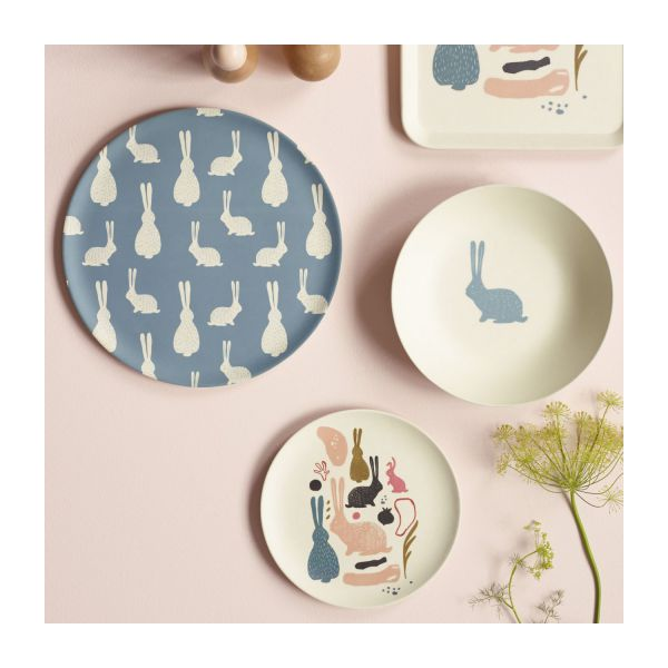 Flat plate, blue with bunny pattern n°3