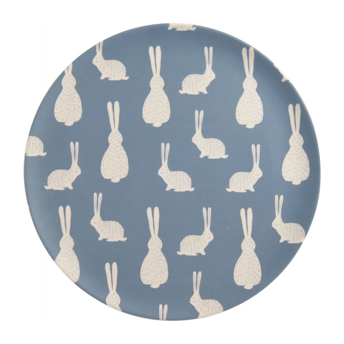 Flat plate, blue with bunny pattern n°1