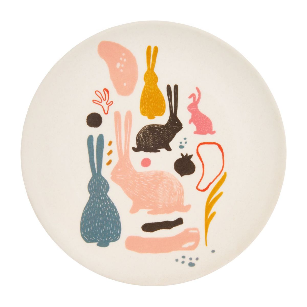 Dessert plate with bunny patterns n°1