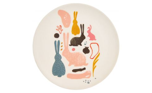 Dessert plate with bunny patterns