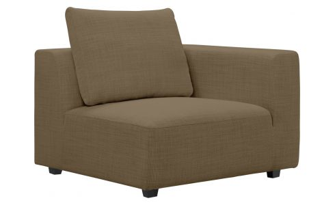 1 seat sofa with right armrest in Fasoli fabric, jatoba brown