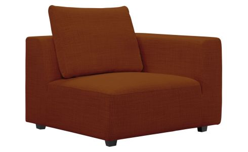 1 seat sofa with right armrest in Fasoli fabric, warm red rock