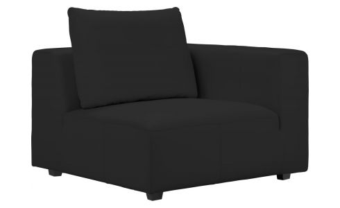 1 seat sofa with right armrest in Eton veined leather, black