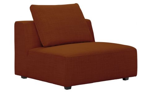1,5 seater sofa without armrest in Fasoli fabric, warm red rock