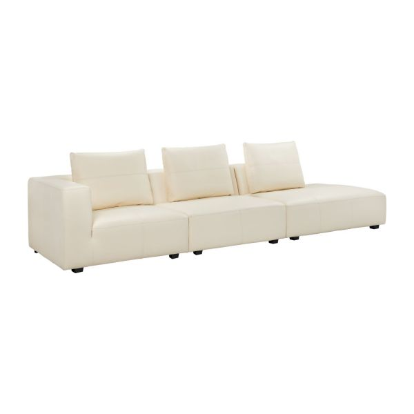 ponta 1 5 sitzer sofa ohne armlehne aus genarbtem leder eton cream habitat. Black Bedroom Furniture Sets. Home Design Ideas