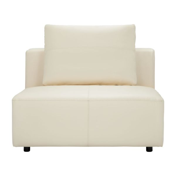 1,5 Seater Sofa Without Armrest In Eton Veined Leather, Cream N°2