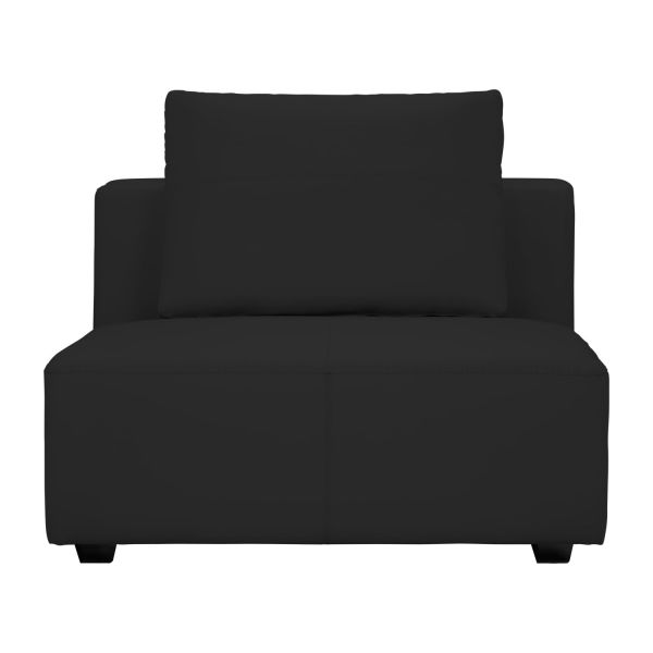 ponta 1 5 sitzer sofa ohne armlehne aus genarbtem leder eton black habitat. Black Bedroom Furniture Sets. Home Design Ideas