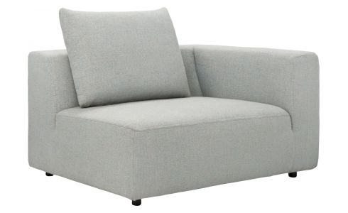 1,5 seater sofa with right armrest in Lecce fabric, blue reef