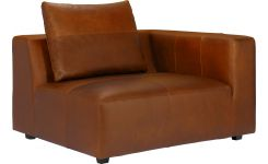 1,5 seater sofa with right armrest in Vintage aniline leather, old chestnut