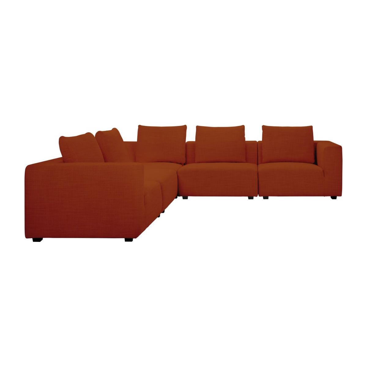 1,5 seater sofa with left armrest in Fasoli fabric, warm red rock n°10