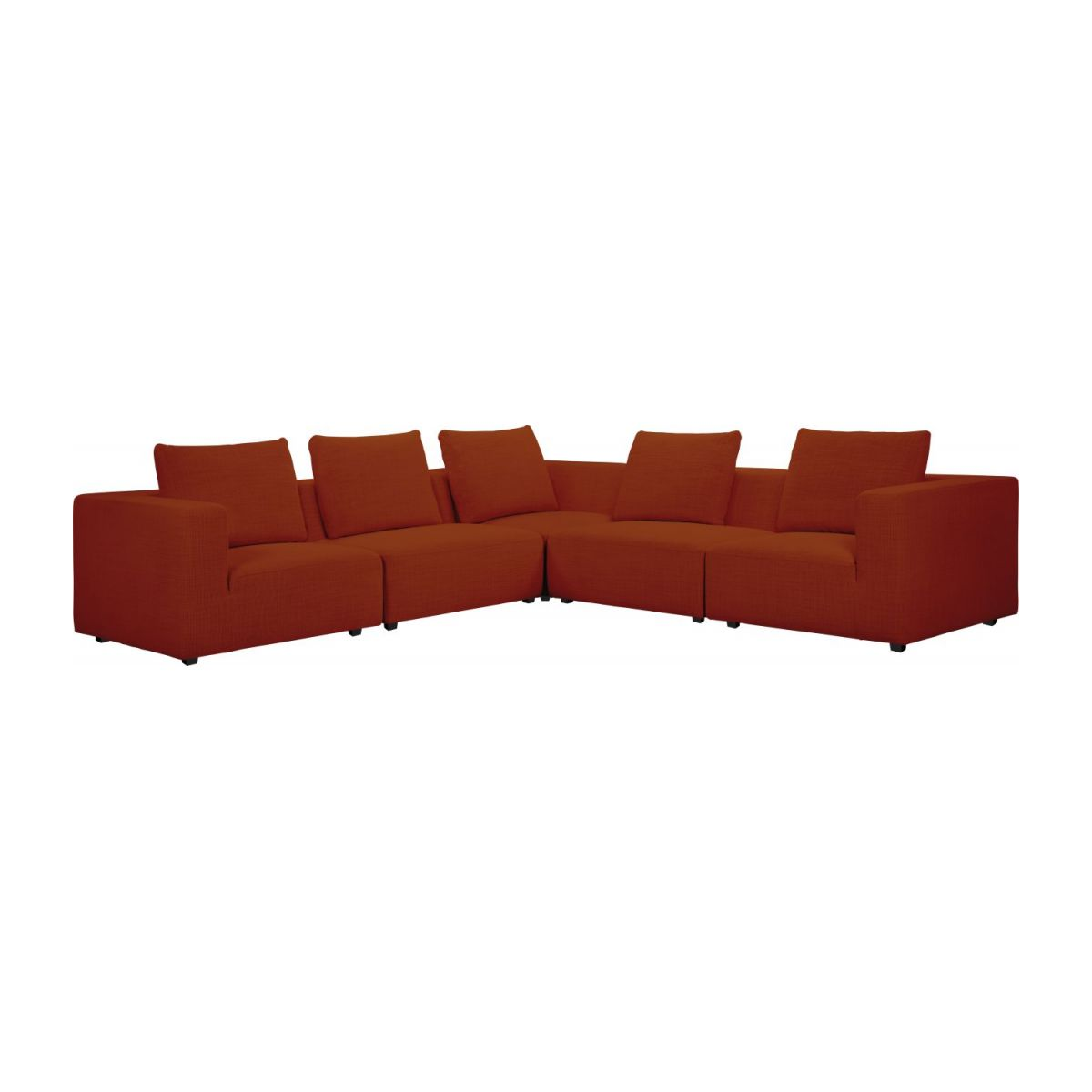 1,5 seater sofa with left armrest in Fasoli fabric, warm red rock n°9