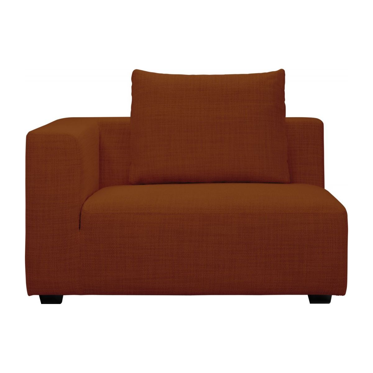 1,5 seater sofa with left armrest in Fasoli fabric, warm red rock n°2