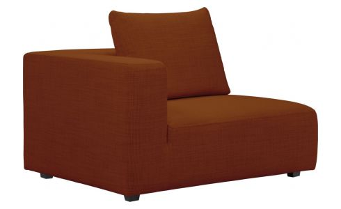 1,5 seater sofa with left armrest in Fasoli fabric, warm red rock