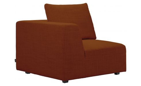 1 seat corner sofa in Fasoli fabric, warm red rock
