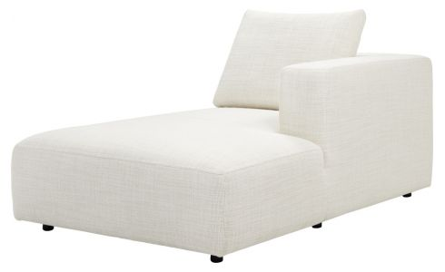 Right chaise longue in Fasoli fabric, snow white