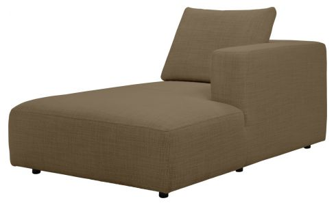 Right chaise longue in Fasoli fabric, jatoba brown