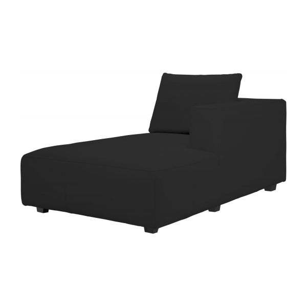 right chaise longue in eton veined leather black n1 - Chaise Longue Cuir