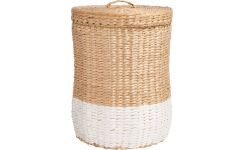 Basket 28cm, natural and white