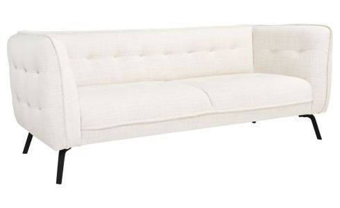 3 seater sofa in Fasoli fabric, snow white and dark legs