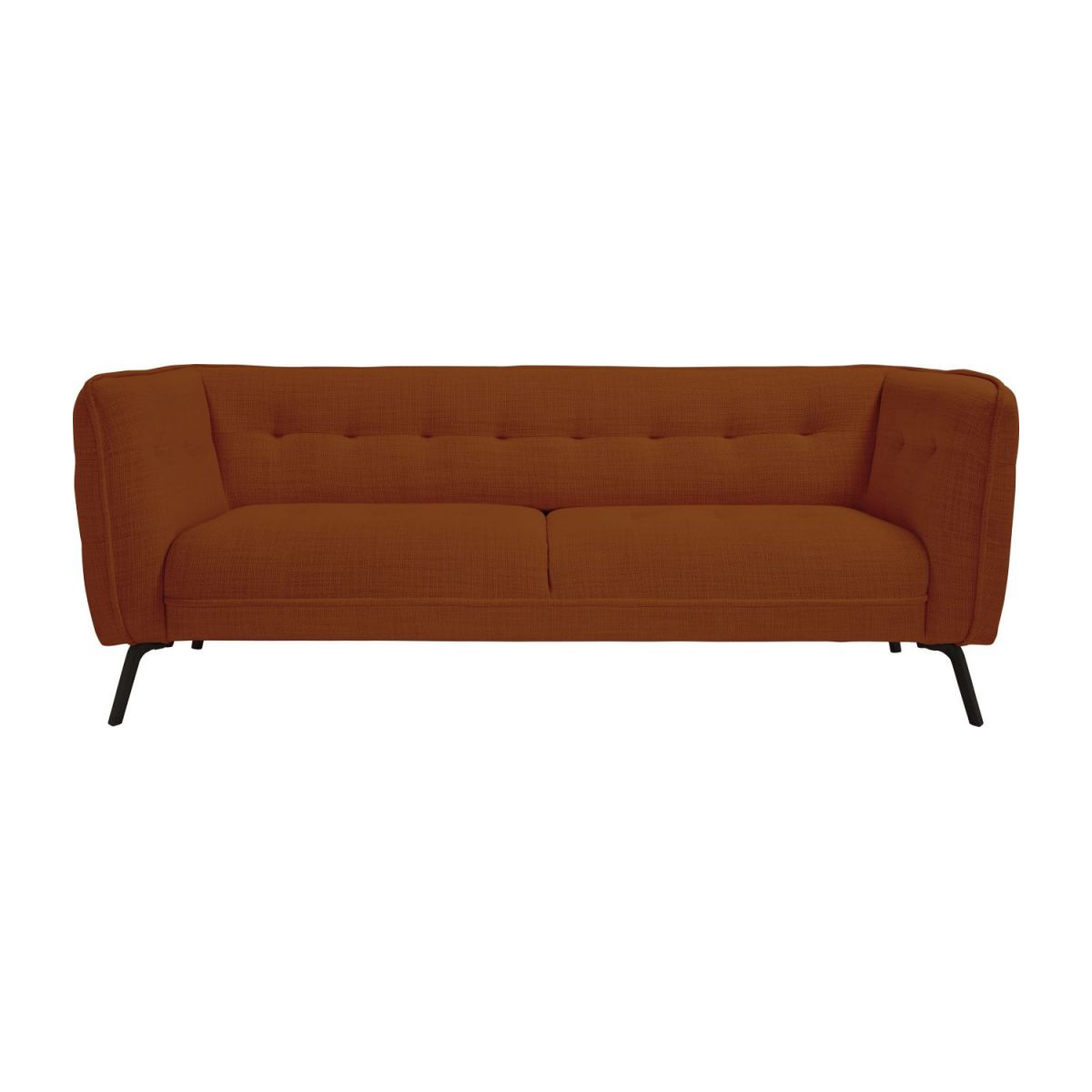 3 seater sofa in Fasoli fabric, warm red rock and dark legs n°2