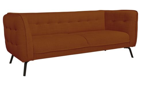 3 seater sofa in Fasoli fabric, warm red rock and dark legs