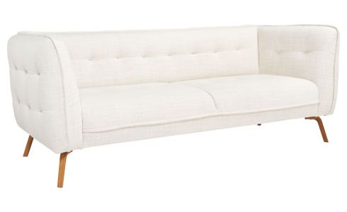 3 seater sofa in Fasoli fabric, snow white and oak legs