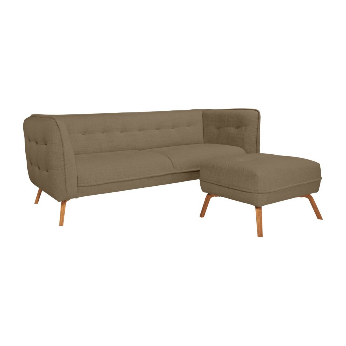 3 seater sofa in Fasoli fabric, jatoba brown and oak legs n°9