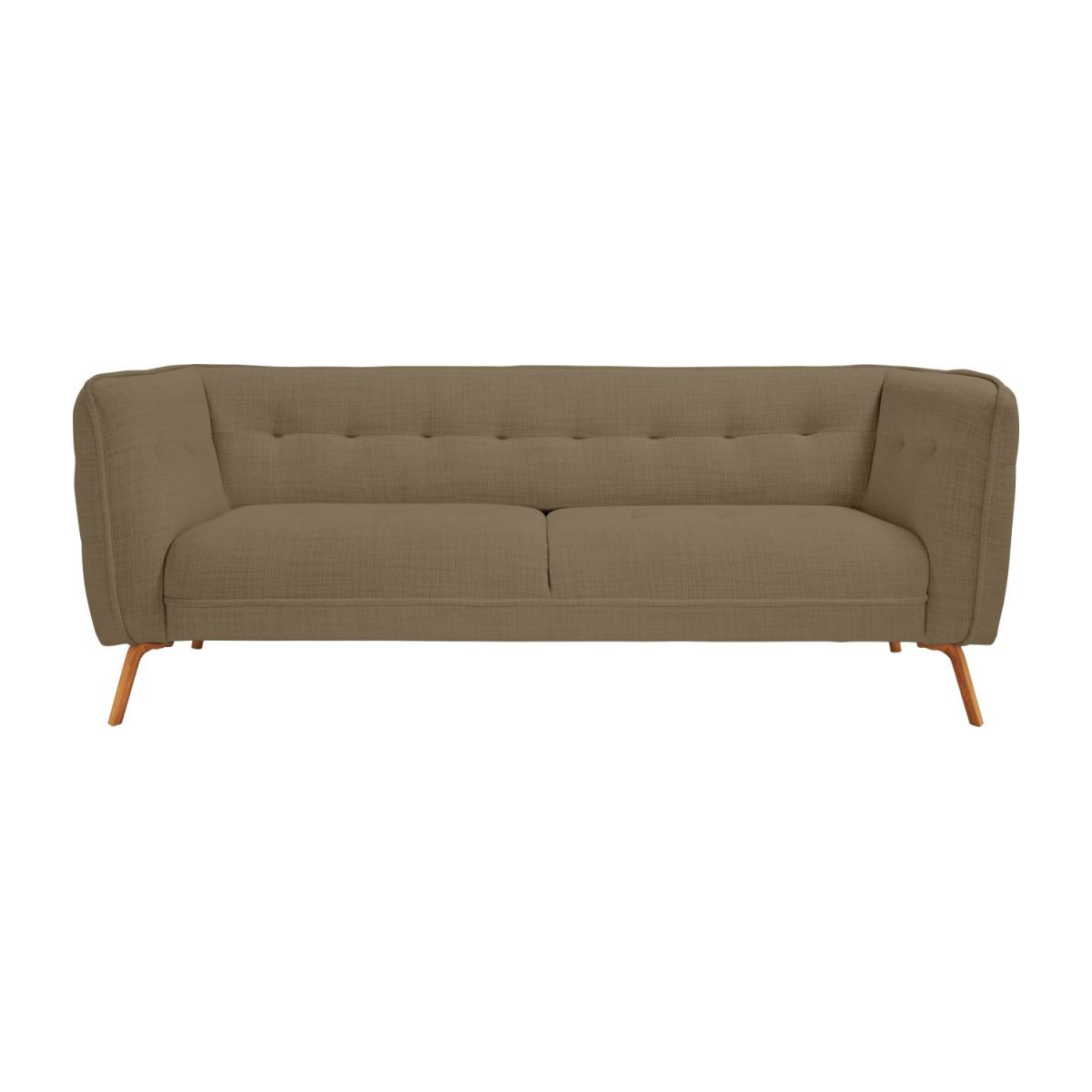 3 seater sofa in Fasoli fabric, jatoba brown and oak legs n°2