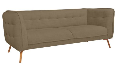 3 seater sofa in Fasoli fabric, jatoba brown and oak legs