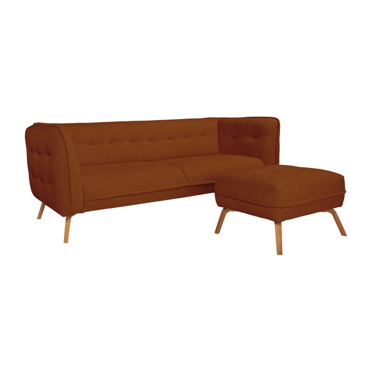 3 seater sofa in Fasoli fabric, warm red rock and oak legs n°9