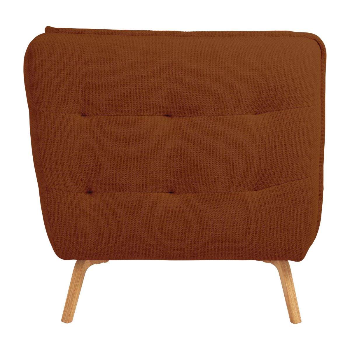 3 seater sofa in Fasoli fabric, warm red rock and oak legs n°4