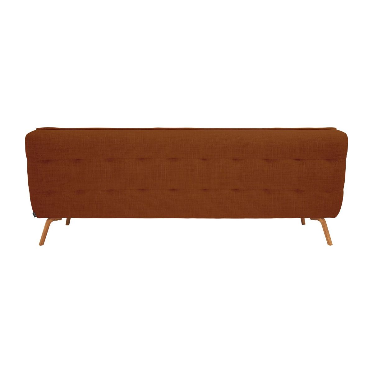 3 seater sofa in Fasoli fabric, warm red rock and oak legs n°3