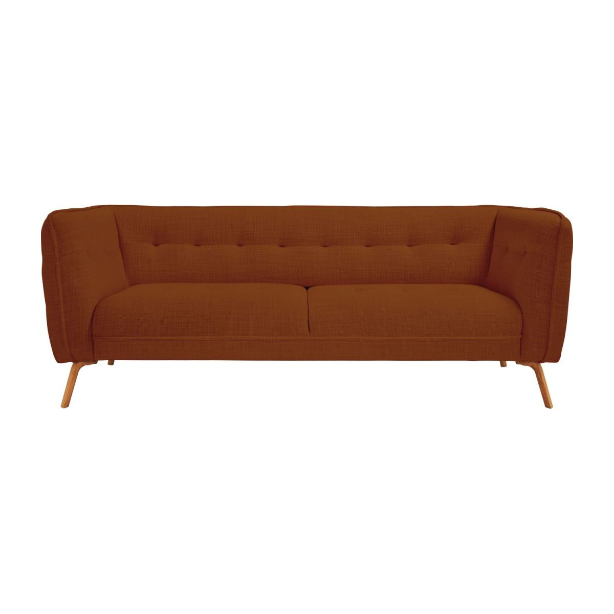 3 seater sofa in Fasoli fabric, warm red rock and oak legs n°2