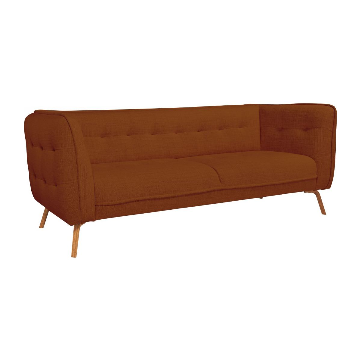 3 seater sofa in Fasoli fabric, warm red rock and oak legs n°1