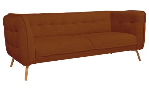 3 seater sofa in Fasoli fabric, warm red rock and oak legs