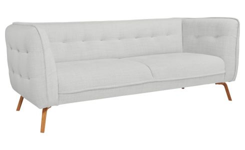 3 seater sofa in Fasoli fabric, grey sky and oak legs