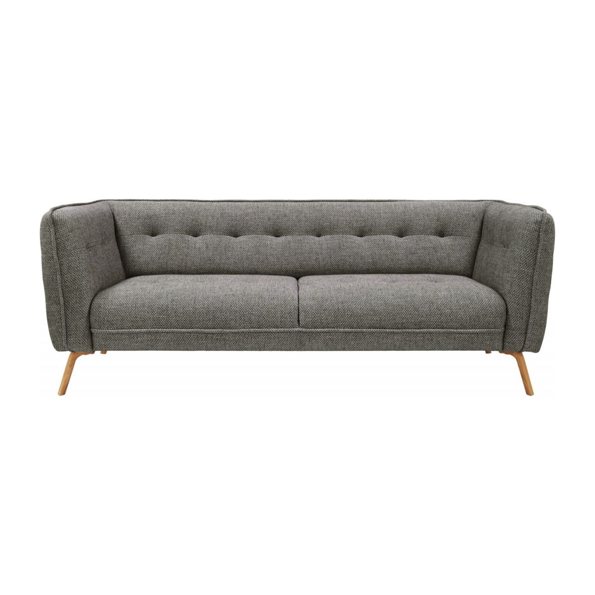 3 seater sofa in Bellagio fabric, night black and oak legs n°3