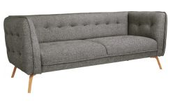 3 seater sofa in Bellagio fabric, night black and oak legs