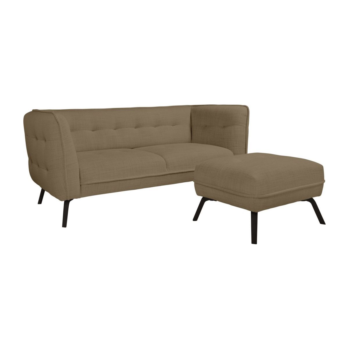 2 seater sofa in Fasoli fabric, jatoba brown and dark legs n°10