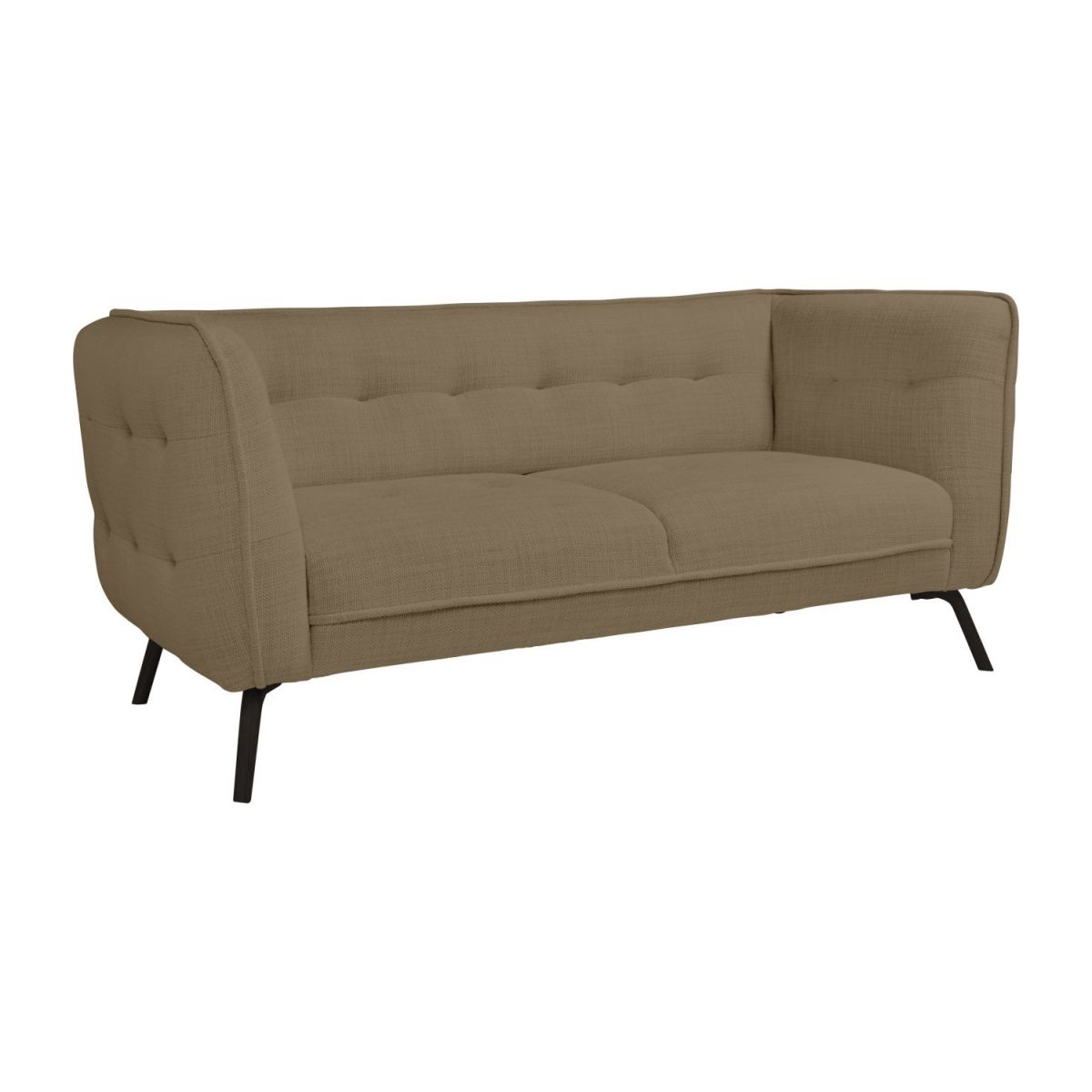 2 seater sofa in Fasoli fabric, jatoba brown and dark legs n°1