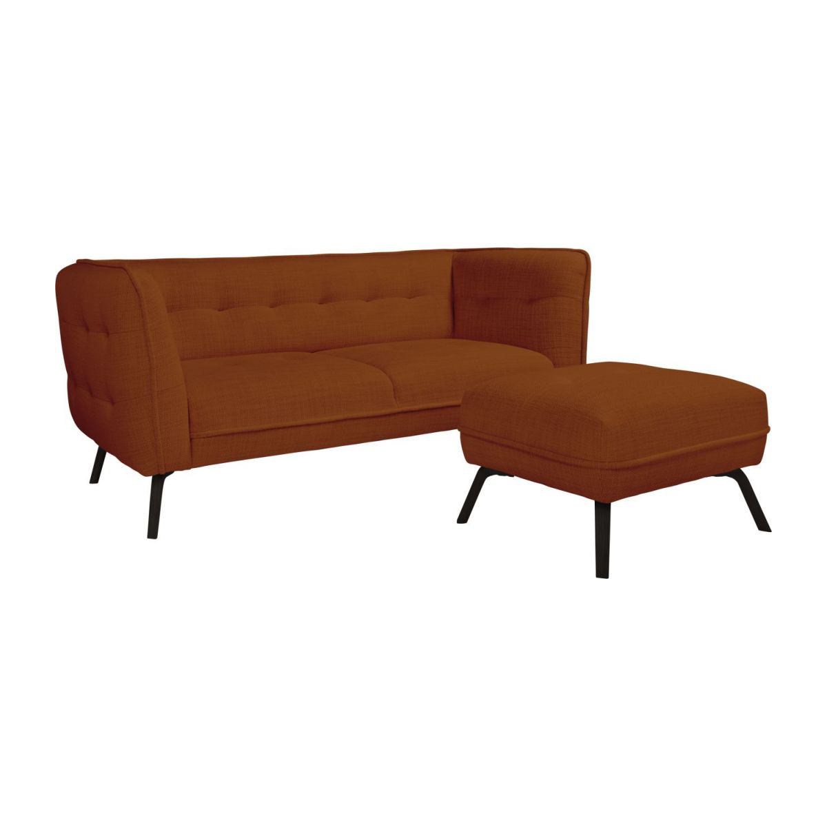 2 seater sofa in Fasoli fabric, warm red rock and dark legs n°8