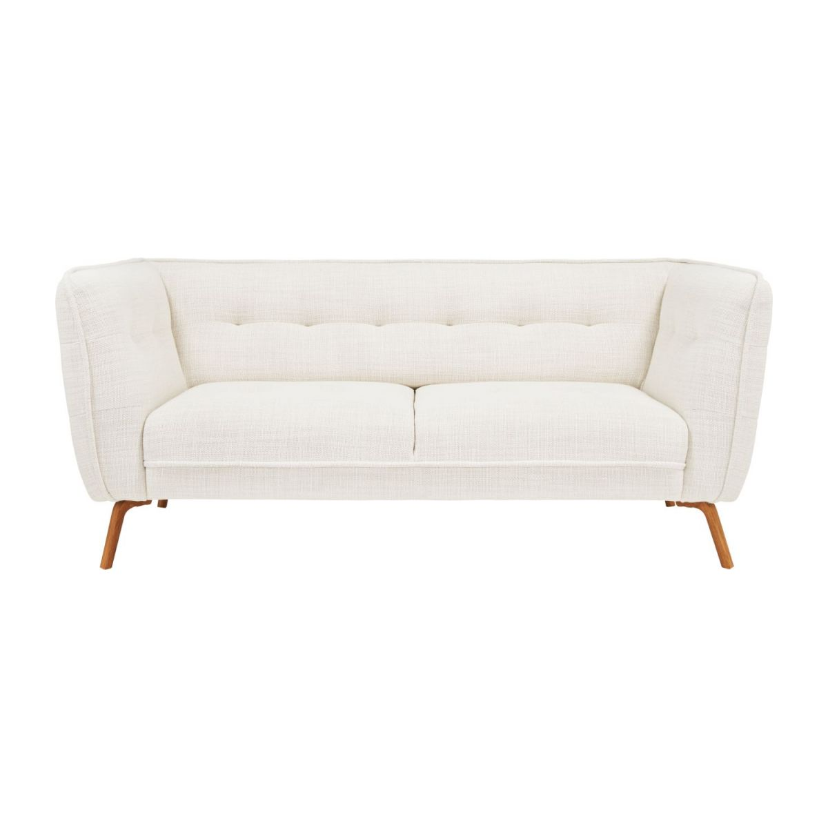 2 seater sofa in Fasoli fabric, snow white and oak legs n°2