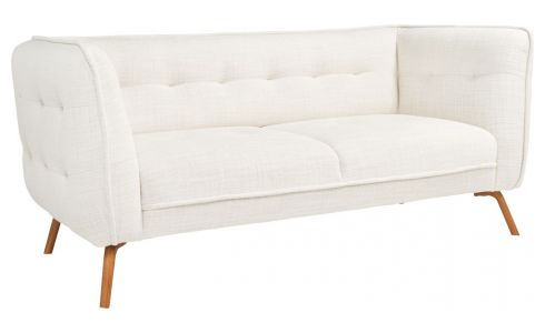 2 seater sofa in Fasoli fabric, snow white and oak legs