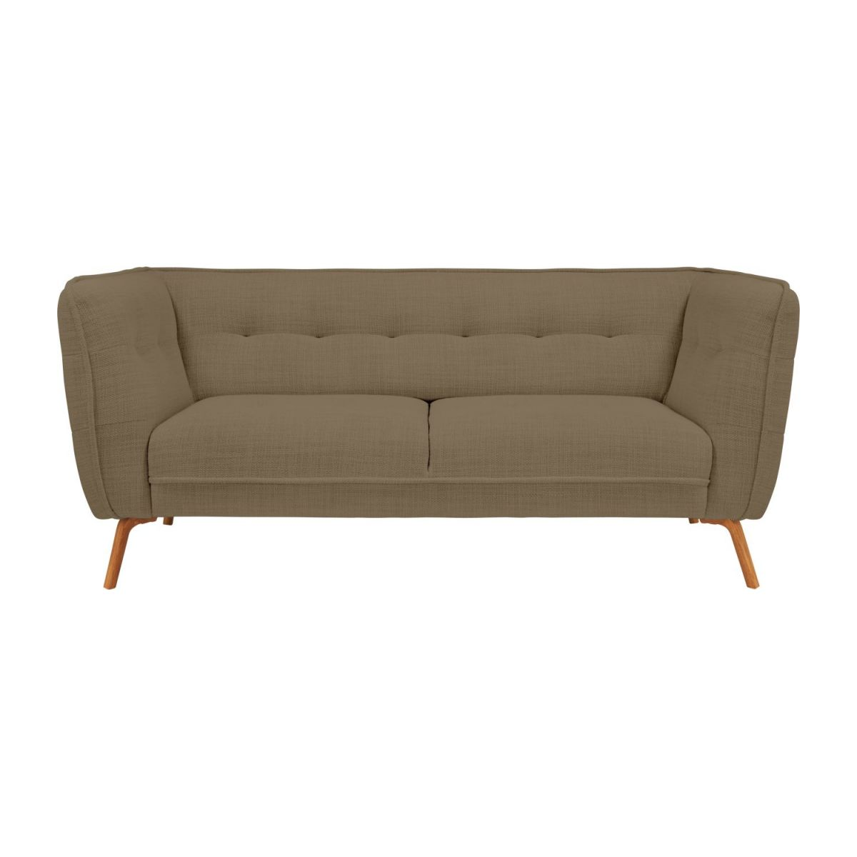 2 seater sofa in Fasoli fabric, jatoba brown and oak legs n°3
