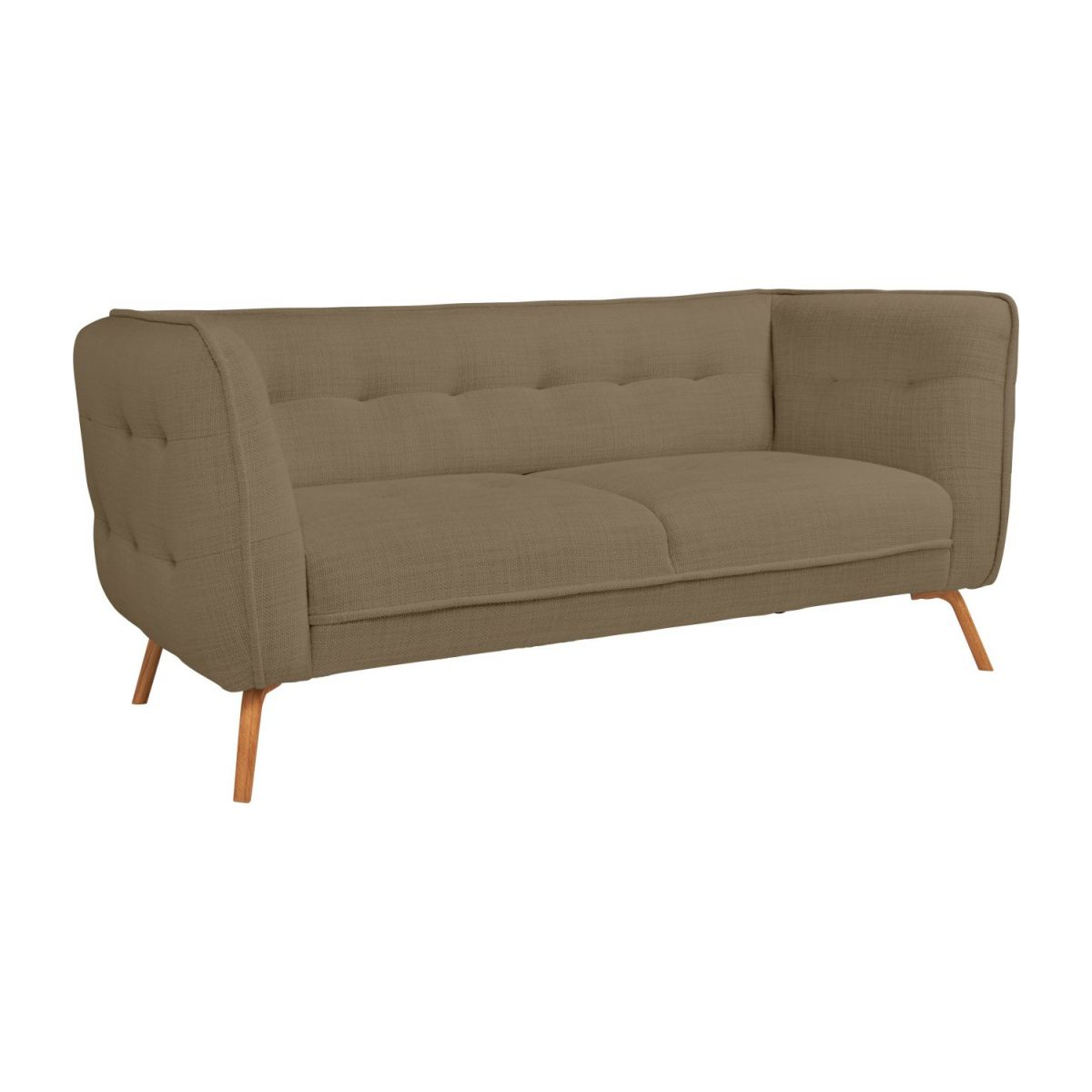 2 seater sofa in Fasoli fabric, jatoba brown and oak legs n°1