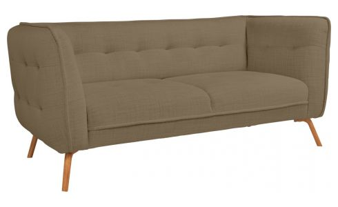 2 seater sofa in Fasoli fabric, jatoba brown and oak legs
