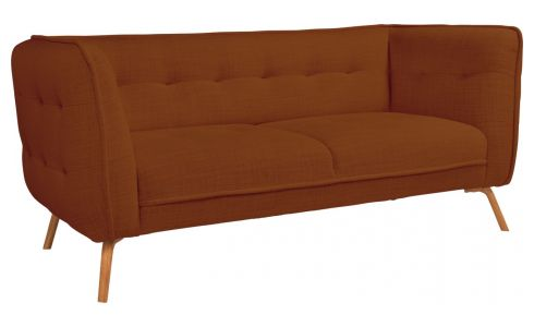 2 seater sofa in Fasoli fabric, warm red rock and oak legs
